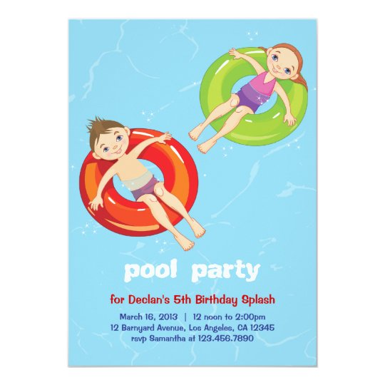 Pool rings summer swim birthday party invitation zazzle pool rings summer swim birthday party invitation filmwisefo