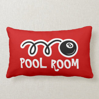 Pool room throw pillows with eightball print