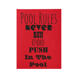 Pool Rules Wood Poster