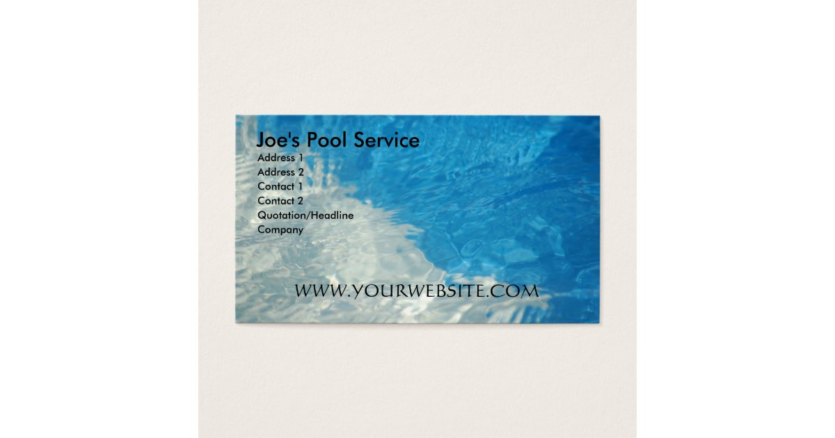 Pool service business card zazzlecom for Pool service business cards