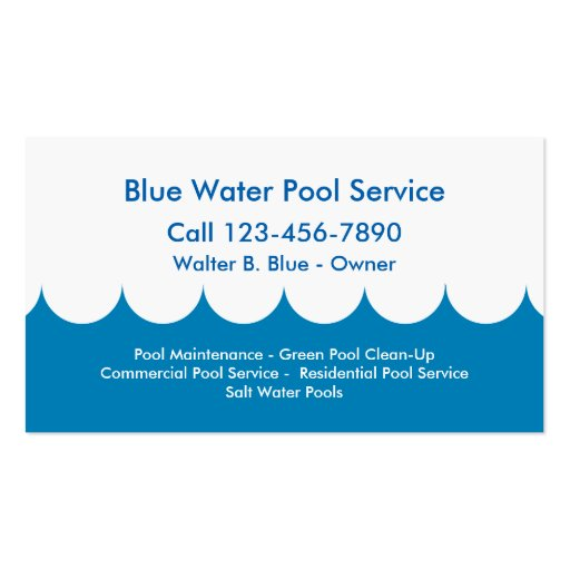 Pool service business card zazzle for Pool company business cards