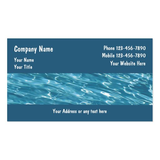 Pool service business cards zazzle for Pool company business cards