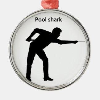 Pool shark metal ornament