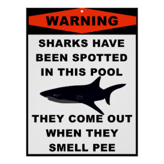 Pool Shark Warning Poster