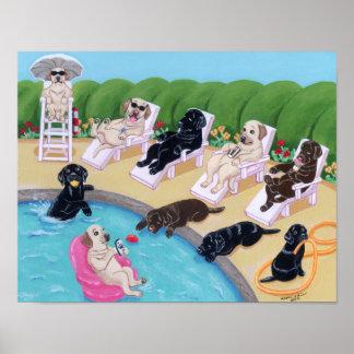Pool Side Party Labradors Artwork Print