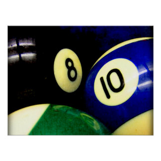 Pool Table Balls Grunge Style Poster