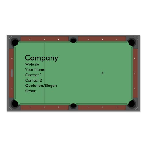 Pool Table Double-Sided Standard Business Cards (Pack Of 100)