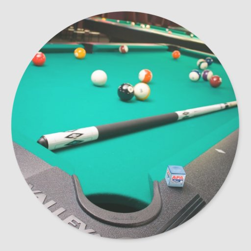 Pool table classic round sticker zazzle for Circular pool table