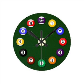 Pool Table - Round Clock