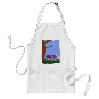 Pool under the Tree Whimsical Cartoon Art Adult Apron