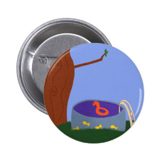 Pool under the Tree Whimsical Cartoon Art Button