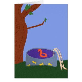 Pool under the Tree Whimsical Cartoon Art Card