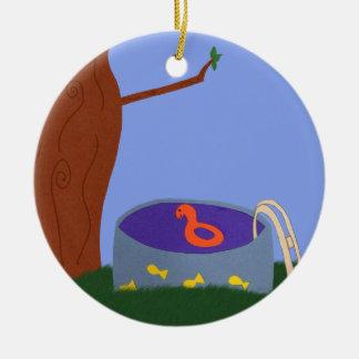 Pool under the Tree Whimsical Cartoon Art Ceramic Ornament