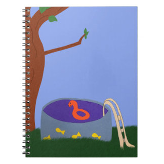 Pool under the Tree Whimsical Cartoon Art Note Book