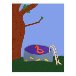 Pool under the Tree Whimsical Cartoon Art Postcard