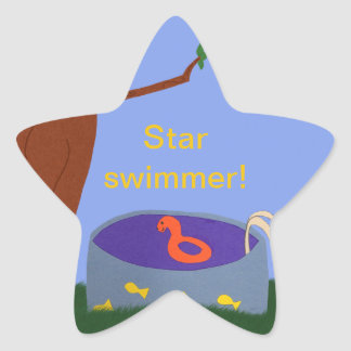 Pool under the Tree Whimsical Cartoon Art Star Sticker