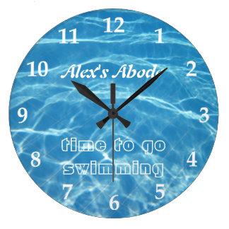 Pool Water Swimming Clear Cool Blue Aquatic Fresh Large Clock