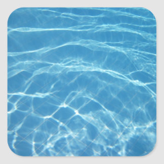 Pool Water with Tiles Square Stickers