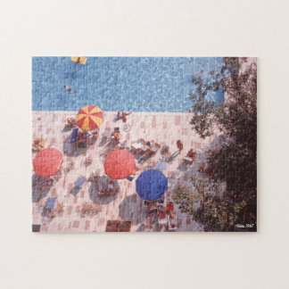 Pool with Colorful Umbrellas Jigsaw Puzzle