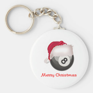PoolChick Merry Christmas Santaball Keychain