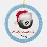 PoolChick Merry Christmas Santaball Personalize Ceramic Ornament