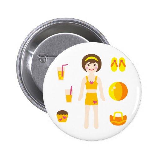 PoolPartyGirl5 2 Inch Round Button