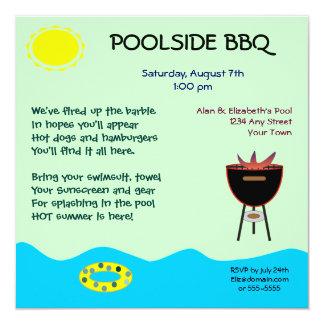 """Poolside BBQ Invitations 5.25"""" Square Invitation Card"""