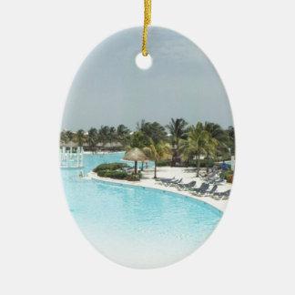 poolside adorno ovalado de cerámica