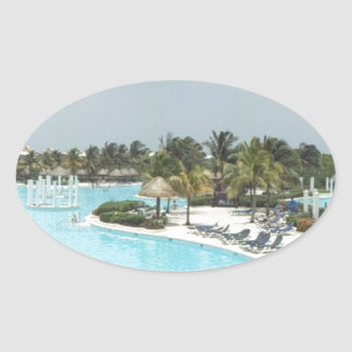 poolside oval sticker