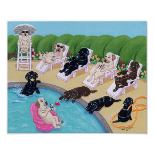 Poolside Party Labradors Art Print