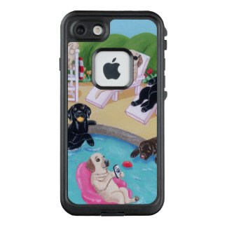 Poolside Party Labradors Painting 2 iPhone Case