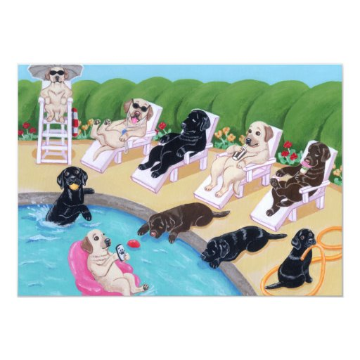 Poolside Party Labradors Painting Card