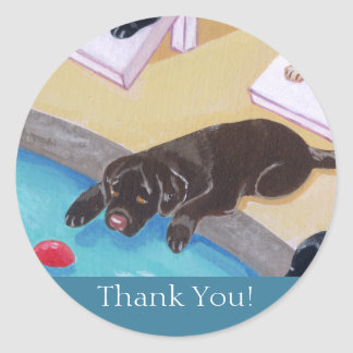 Poolside Party Labradors Painting Classic Round Sticker