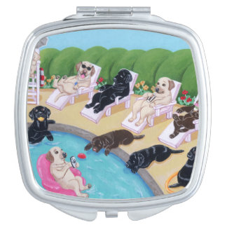 Poolside Party Labradors Painting Compact Mirror