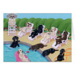 Poolside Party Labradors Painting Greeting Card