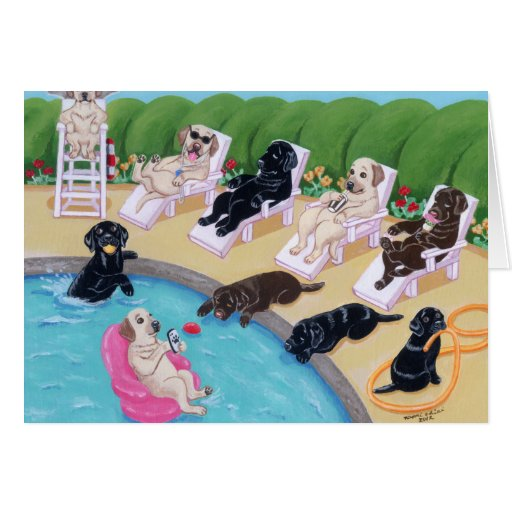 Poolside Party Labradors Painting Greeting Cards