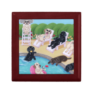 Poolside Party Labradors Painting Jewelry Box