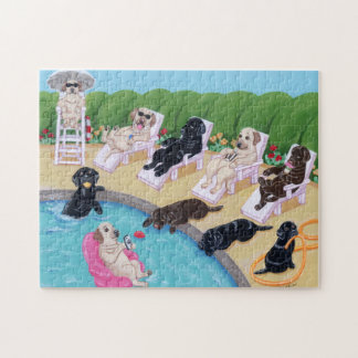 Poolside Party Labradors Painting Jigsaw Puzzle