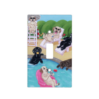 Poolside Party Labradors Painting Light Switch Cover