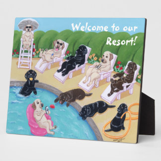 Poolside Party Labradors Painting Plaque
