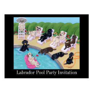 Poolside Party Labradors Painting Post Card