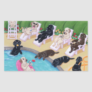 Poolside Party Labradors Painting Stickers