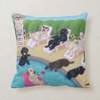Poolside Party Labradors Painting Throw Pillow