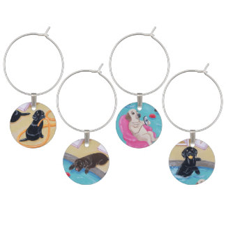Poolside Party Labradors Painting Wine Glass Charm