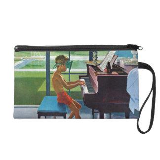 Poolside Piano Practice Wristlet Clutch
