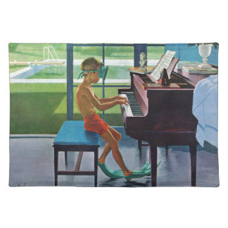 Poolside Piano Practice Cloth Placemat