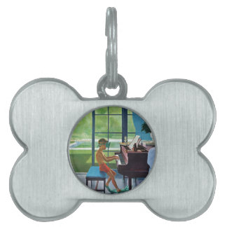 Poolside Piano Practice Pet ID Tag