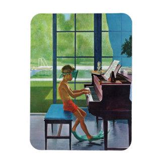 Poolside Piano Practice Rectangular Photo Magnet