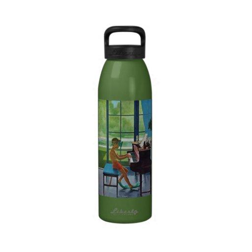 Poolside Piano Practice Water Bottles