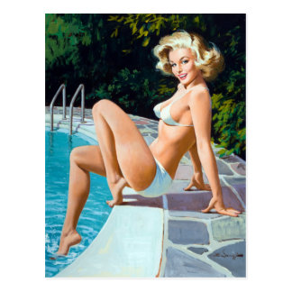 Poolside Pin Up Postcard
